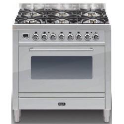Aragaz ILVE Profesional line P90, 90X60cm, 5 arzatoare, cuptor gaz, timer, aprindere electronica, inox