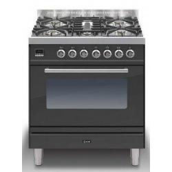 Aragaz ILVE Profesional line P80, 80X60cm, 5 arzatoare, cuptor electric, timer, aprindere electronica, negru