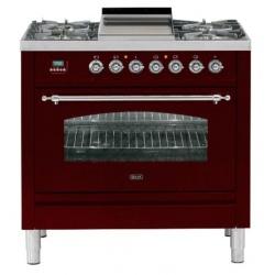 Aragaz ILVE Nostalgie Profesional line PN90,90X60cm, 5 arzatoare,cuptor electric, arzator peste, aprindere electronica, visiniu