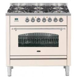 Aragaz ILVE Nostalgie Profesional line PN90, 90X60cm, 4 arzatoare,cuptor electric, Tepanyaki, aprindere electronica, alb antique