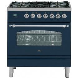 Aragaz ILVE Nostalgie Profesional line PN80,80X60cm, 5 arzatoare,cuptor electric,arzator peste, aprindere electronica, albastru