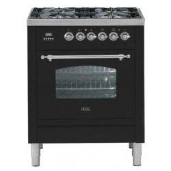 Aragaz ILVE Nostalgie Profesional line PN70, 70X60cm, 4 arzatoare, cuptor electric, timmer, aprindere electronica, negru mat