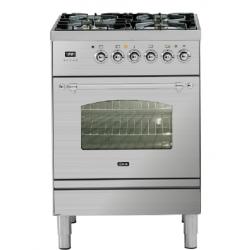 Aragaz ILVE Nostalgie Profesional line PN60, 60X60 cm, 4 arzatoare, cuptor electric, timmer, aprindere electronica, inox