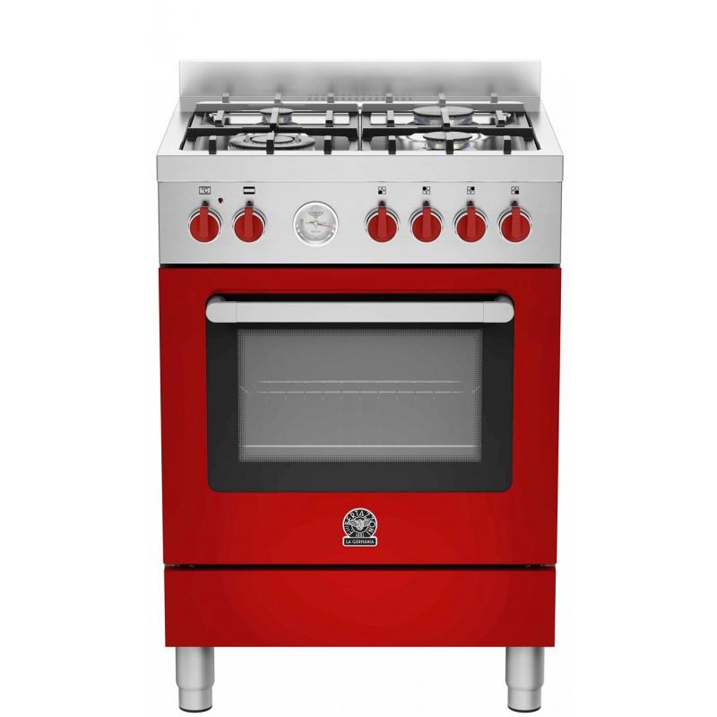Aragaz Bertazzoni La Germania Prima PRM664EXRT 60x60 cm 4 arzatoare gaz cuptor electric aprindere electronica rosu
