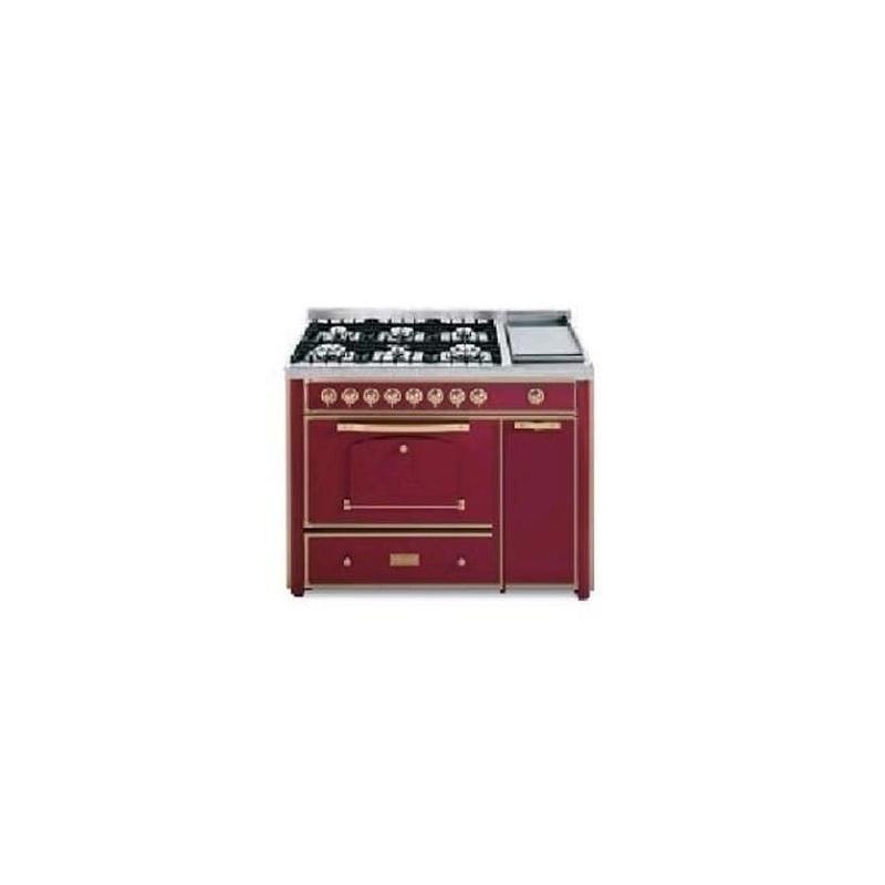 Aragaz Barazza Classica 1B120BOO 123x65 cm 6 arzatoare gaz Tepanyaki cuptor electric aprindere electronica visiniu/alama