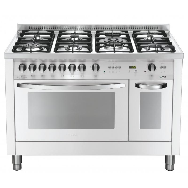 Aragaz Lofra Special120 PBPD126GV+E/2CI, gaz, 120x60cm, 7 arzatoare, 2 cuptoare, grill electric, timer, alb