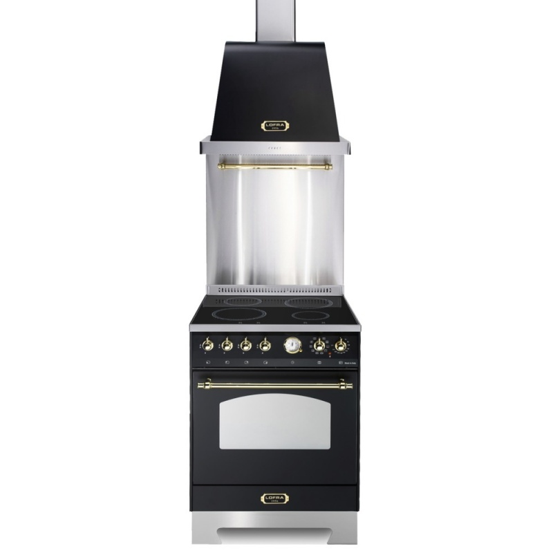Set Aragaz Lofra Dolcevita RNM66MFT/5i, 60x60cm, 4 zone inductie, grill +Splash Back 60+Hota Dolcevita 60, negru mat