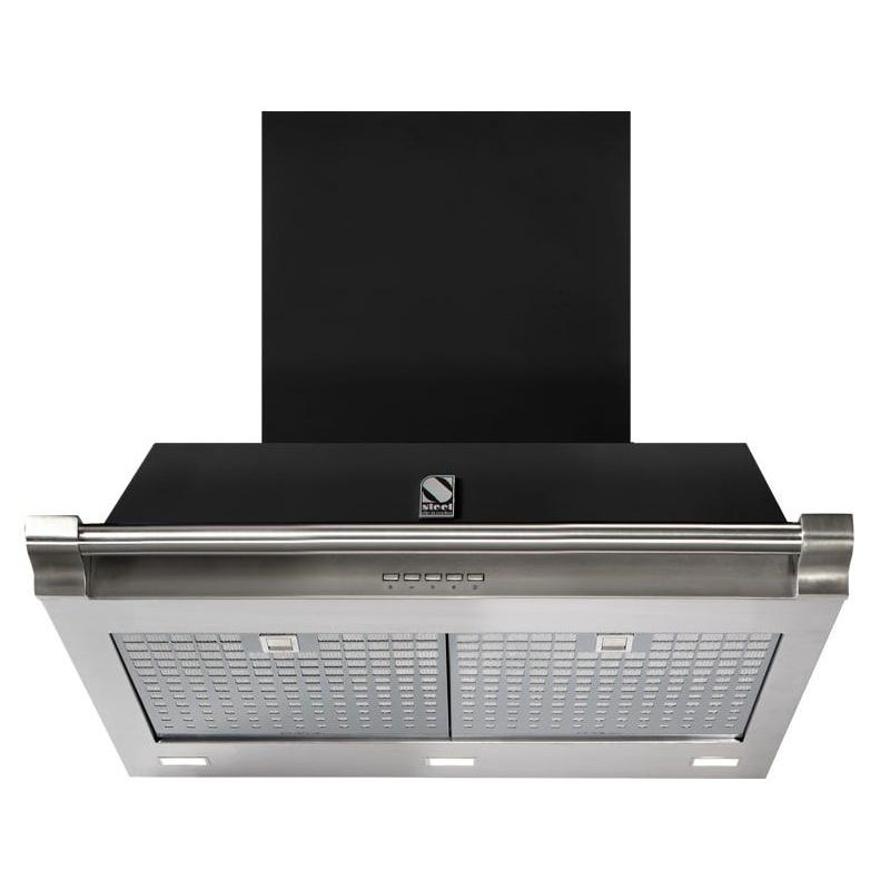 Hota decorativa STEEL Ascot 70, 70 cm, 1 motor, 4 viteze, 900 m3/h, panou control soft touch, negru