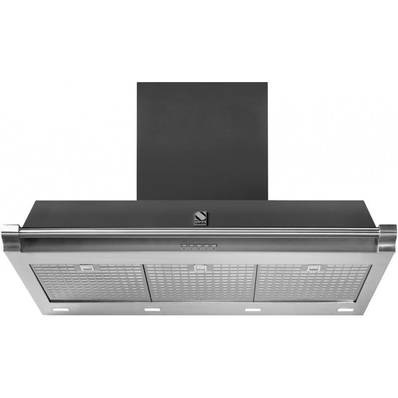 Hota decorativa STEEL Oxford 90, 90 cm, 1 motor, 4 viteze, 900 m3/h, panou control soft touch, inox / negru mat
