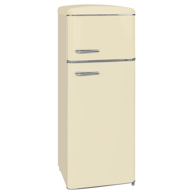 Combina frigorifica RETRO Exquisit RKGC 270/45-16 A++ MW, clasa energetica A++, volum net 208 L, No Frost, Magnolie Alba