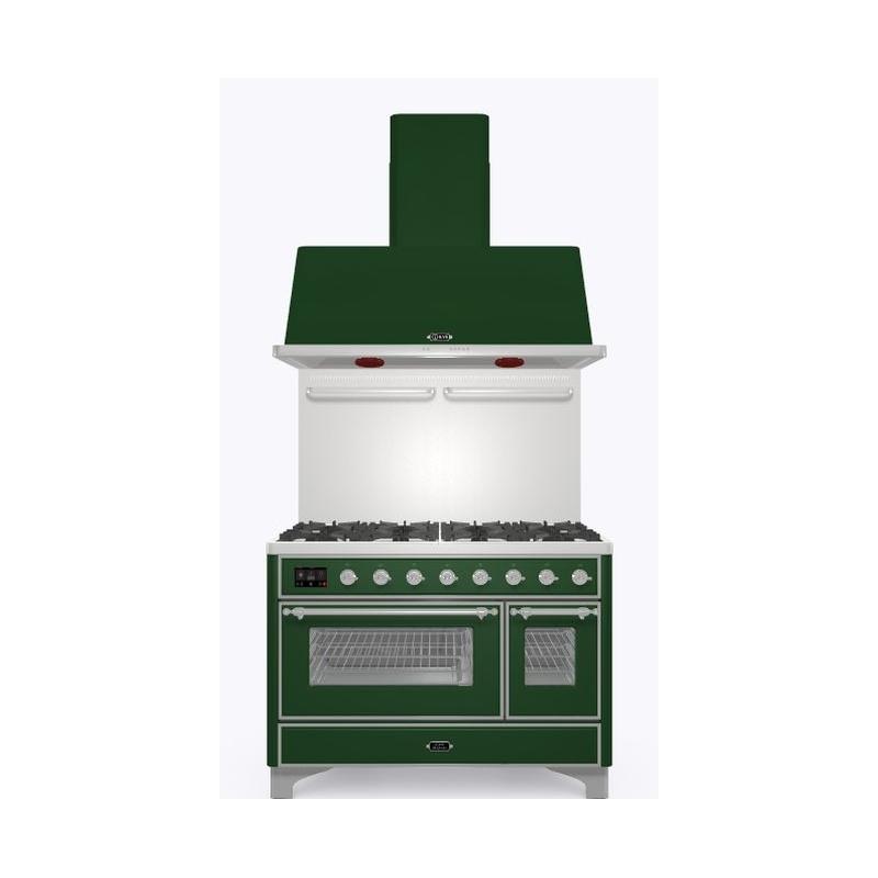 Set Aragaz ILVE Majestic M12N,120x70cm, 8 arzatoare, cuptor dublu+Splash Back120+Hota Ilve AM120, verde