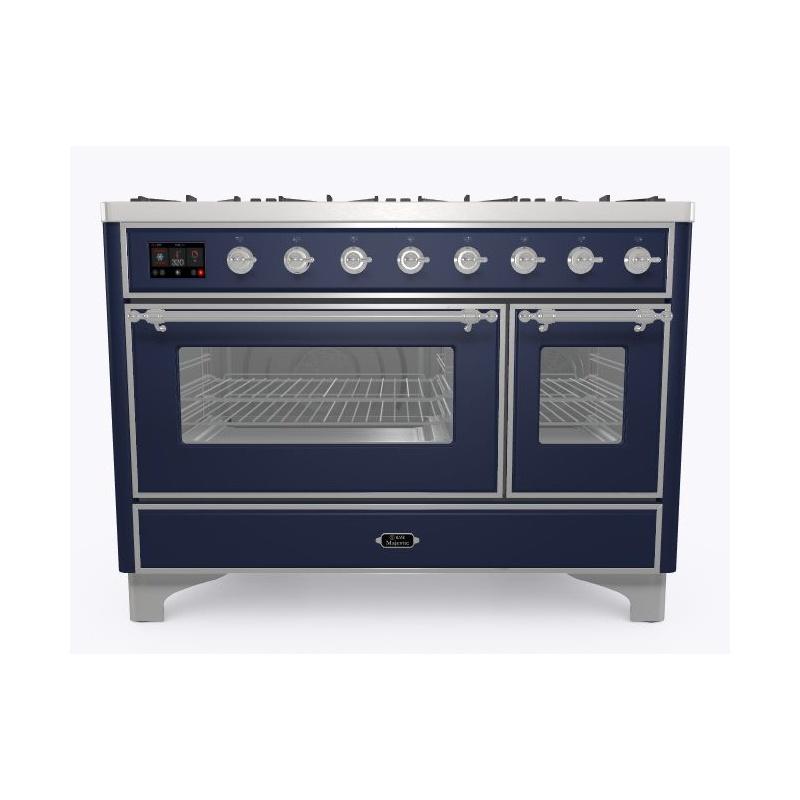 Aragaz ILVE Majestic M12N, 120x70cm, 6 arzatoare+placa Fry Top,cuptor dublu,aprindere electronica, siguranta Stop- Gaz, albastru