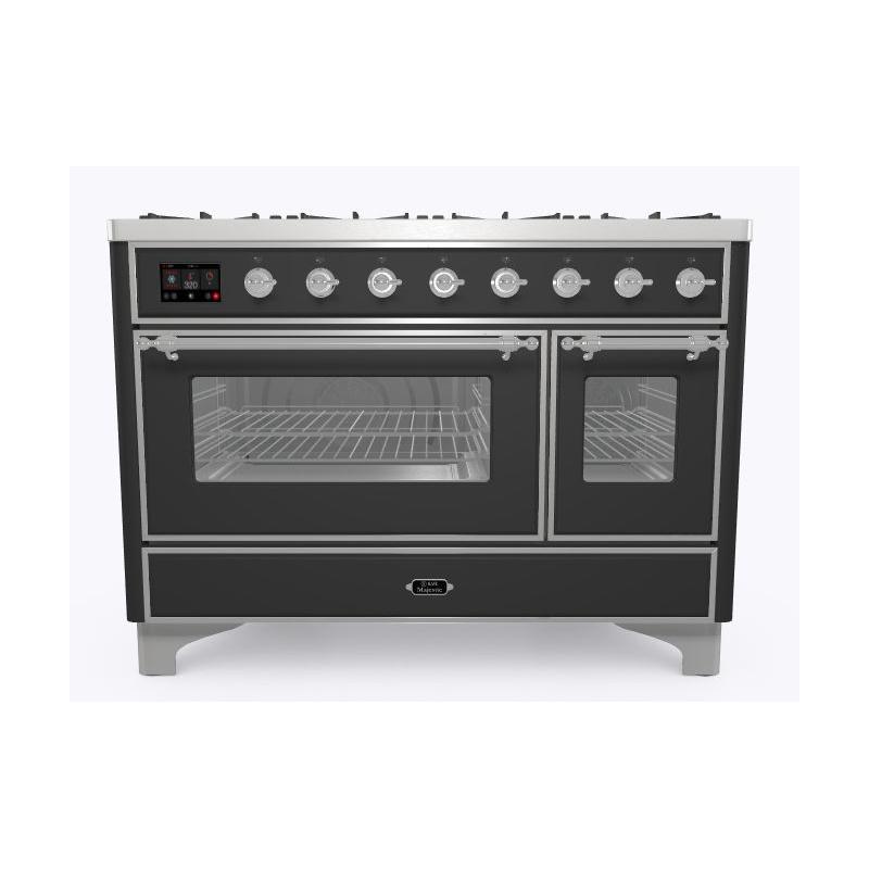 Aragaz ILVE Majestic M12N, 120x70cm, 6 arzatoare+placa Fry Top,cuptor dublu,aprindere electronica, siguranta Stop- Gaz,negru mat