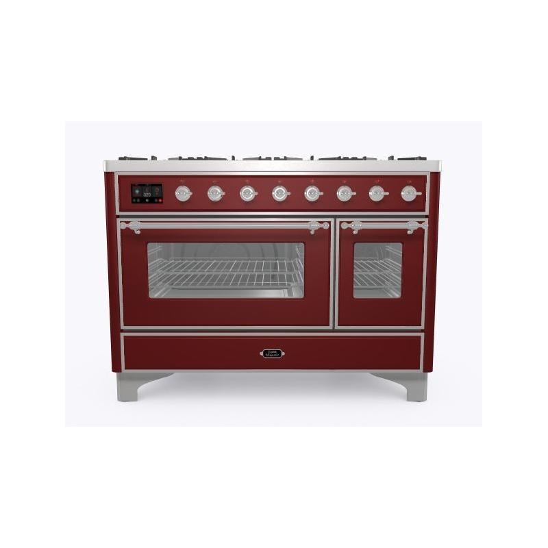 Aragaz ILVE Majestic M12N, 120x70cm, 8 arzatoare, cuptor dublu, aprindere electronica, siguranta Stop- Gaz, rosu