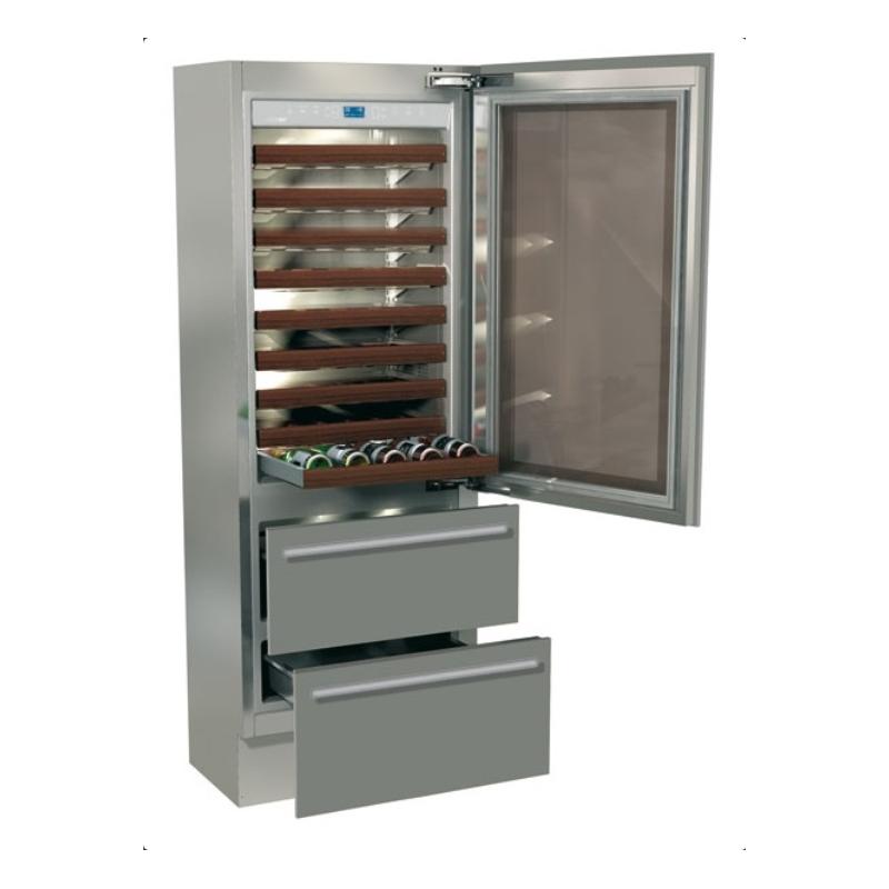 Vitrina frigorifica incorporabila vinuri, Fhiaba Classic60 KI7490HWT3, 2 zone temperatura, clasa A+, 170 l, inox