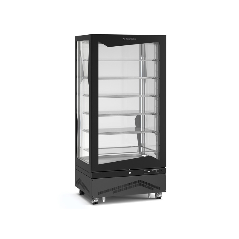 Vitrina frigorifica de cofetarie Tecfrigo MARILYN 650 BTQ, Capacitate 650 L, 1 zona temperatura -15° C /-21° C, Negru