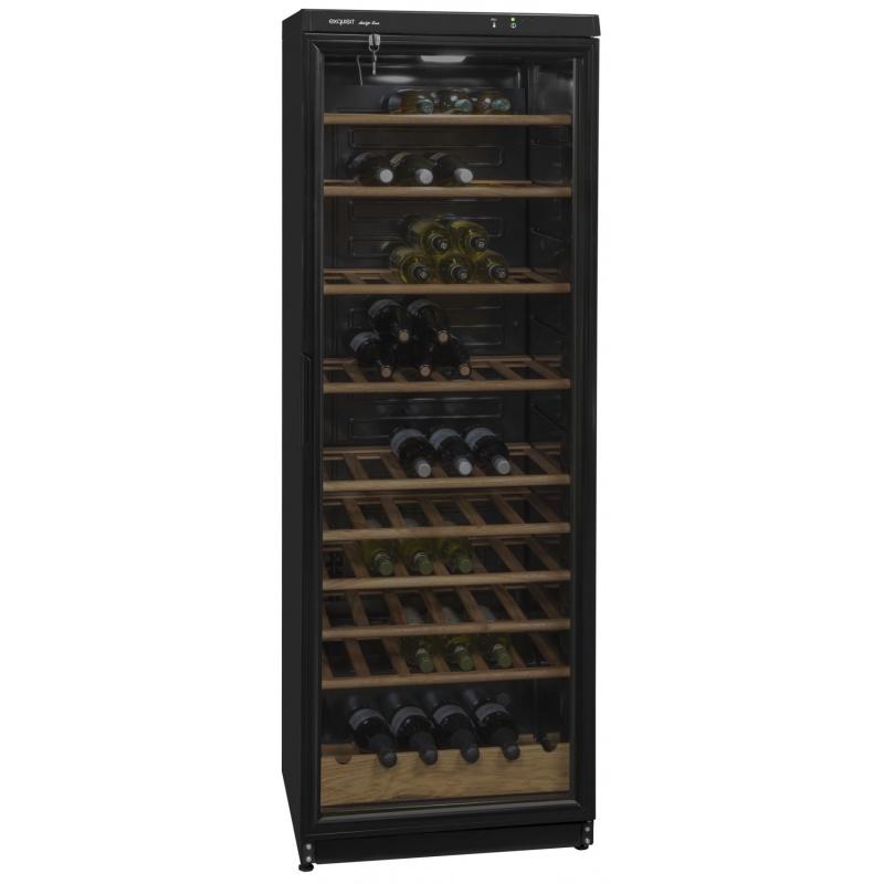 Vitrina racitor de vinuri Exquisit CD 350.1313 sw, Volum 330 L, No Frost, Negru