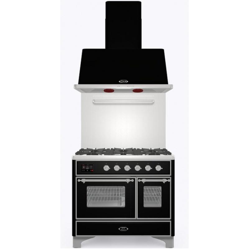 Set Aragaz ILVE Majestic MD10N, 100x70cm, gaz, 6 arzatoare, cuptor dublu+Splash Back 100+Hota Ilve AM100, negru
