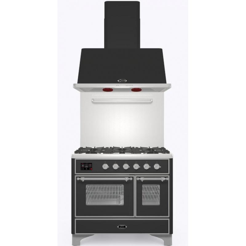Set Aragaz ILVE Majestic MD10N, 100x70cm, gaz, 4 arzatoare + Fry Top, cuptor dublu+Splash Back 100+Hota Ilve AM100, antracit
