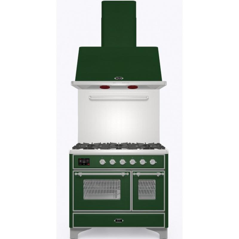Set Aragaz ILVE Majestic MD10N, 100x70cm, gaz, 4 arzatoare + Fry Top, cuptor dublu+Splash Back 100+Hota Ilve AM100, verde