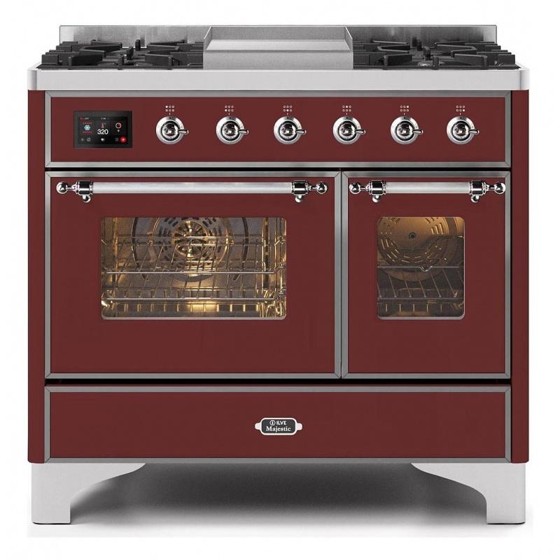 Aragaz ILVE Majestic MD10N, 100x70cm, 6 arzatoare, cuptor dublu, aprindere electronica, siguranta gaz, rosu