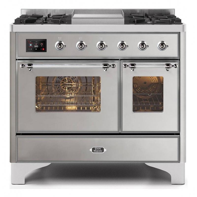 Aragaz ILVE Majestic MD10N, 100x70cm, 4 arzatoare+ Fry Top, cuptor dublu, aprindere electronica, siguranta gaz, inox