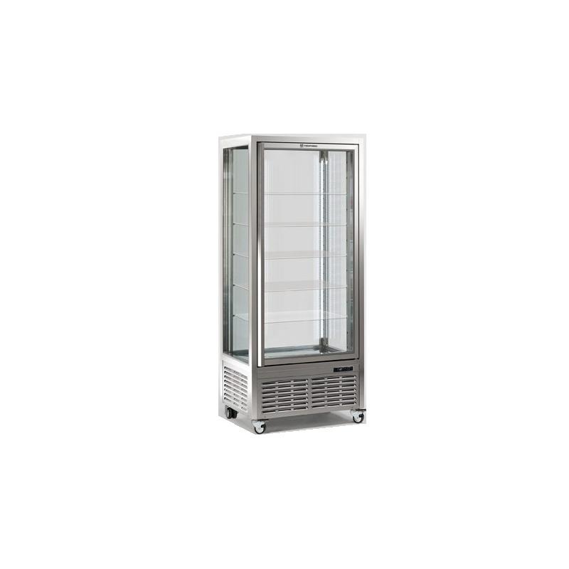 Vitrina frigorifica de cofetarie Tecfrigo DIVA 550 Q CIOCCO, capacitate 550 l, 1 zona temperatura +14/+16°C, argintiu