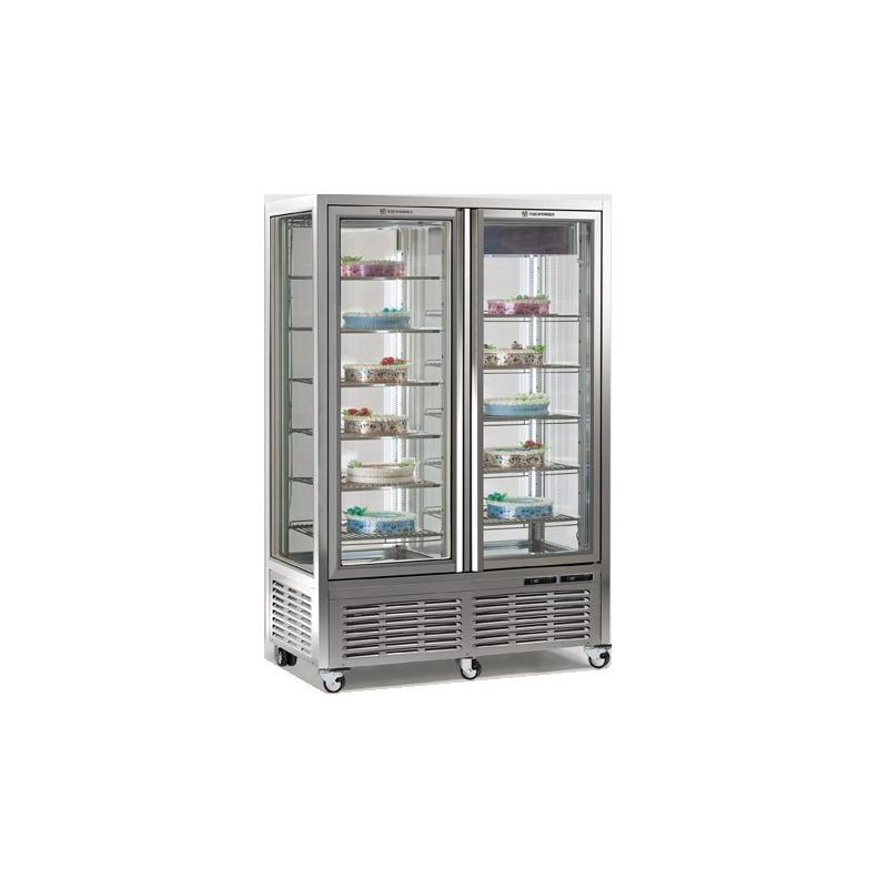 Vitrina frigorifica de cofetarie Tecfrigo DIVA 900 GBT-BTV, capacitate 800 l, 2 zone temperatura -5-18 /-15-21°C, argintiu