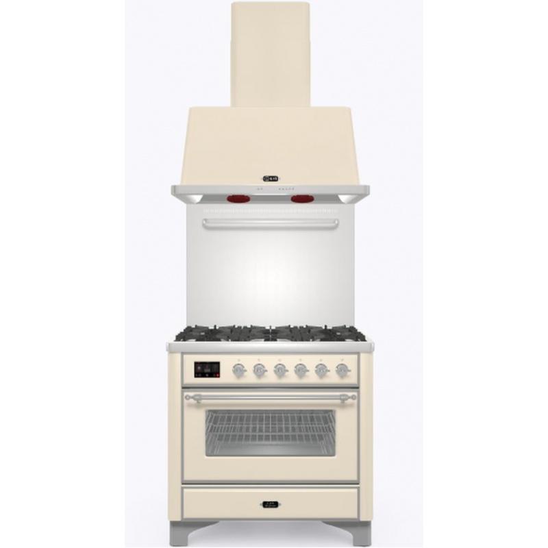 Set Aragaz ILVE Majestic M09N, 90x70cm, 6 arzatoare, cuptor electric + Splash Back 90 + Hota Ilve AM90, alb antic