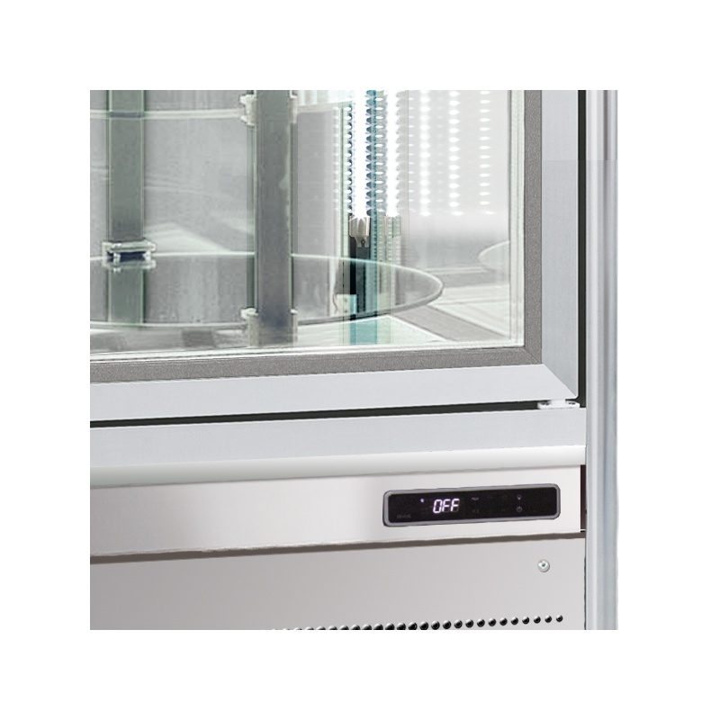 Vitrina frigorifica de cofetarie Tecfrigo Snelle 351 Q Cioccolato, capacitate 350 l, temperatura +14/+16°C, argintiu