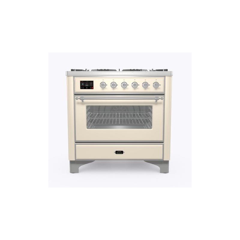 Aragaz ILVE Majestic M09N, 90x70cm, 4 arzatoare +Fry Top , cuptor electric, aprindere electronica, sigurante Stop-Gaz, alb antic