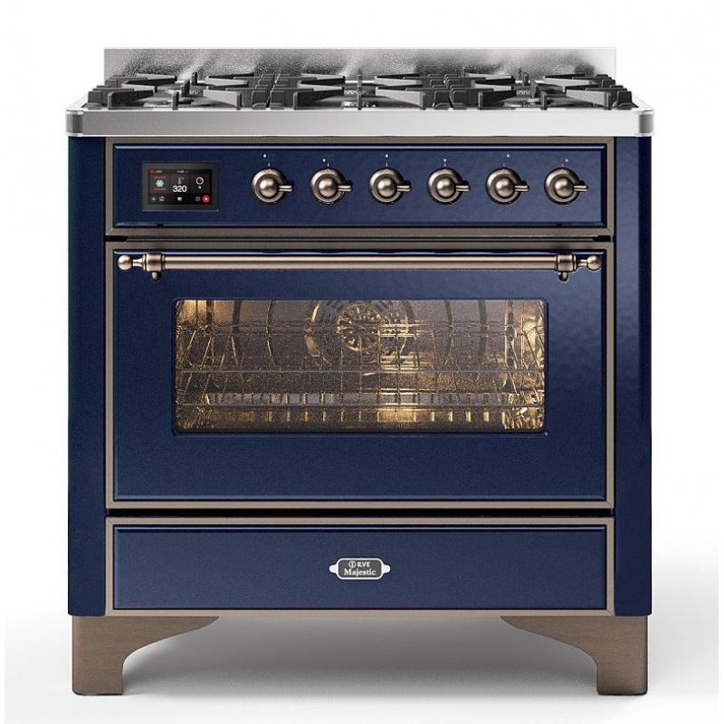 Aragaz ILVE Majestic M09N, 90x70cm, 4 arzatoare +Fry Top , cuptor electric, aprindere electronica, sigurante Stop-Gaz, albastru