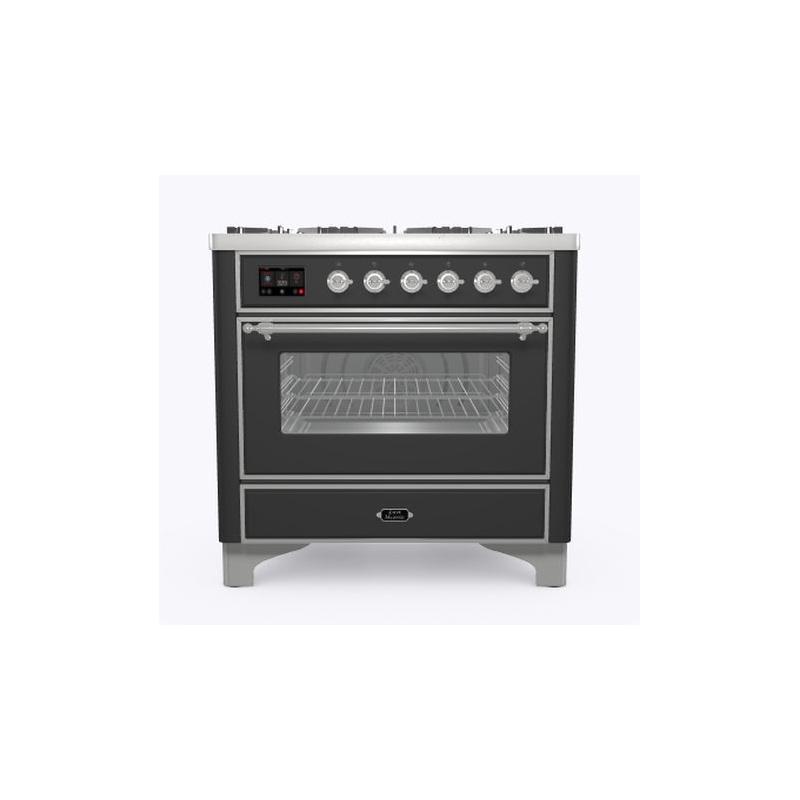 Aragaz ILVE Majestic M09N, 90x70cm, 4 arzatoare +Fry Top , cuptor electric, aprindere electronica, sigurante Stop-Gaz, antracit