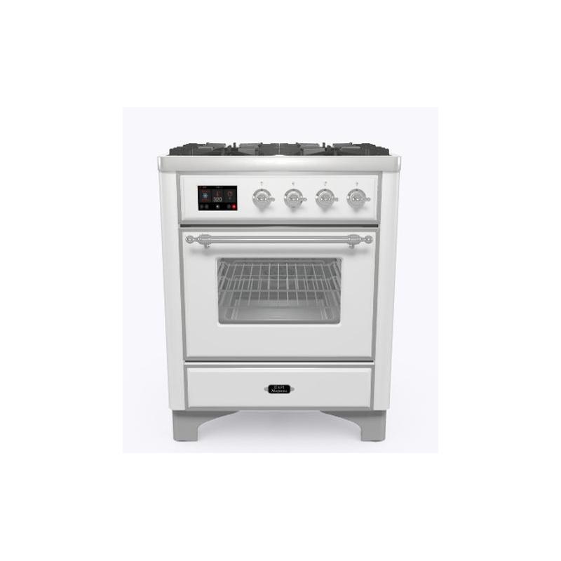 Aragaz ILVE Majestic M07N, 70x70cm, 4 arzatoare, cuptor electric, aprindere electronica, siguranta Stop-Gaz, alb