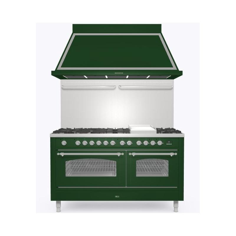 Set Aragaz ILVE Nostalgie P15N, 150x70cm, 7 arzatoare + placa Fry Top, cuptor dublu+Splash Back 150+Hota Ilve ABN150, verde