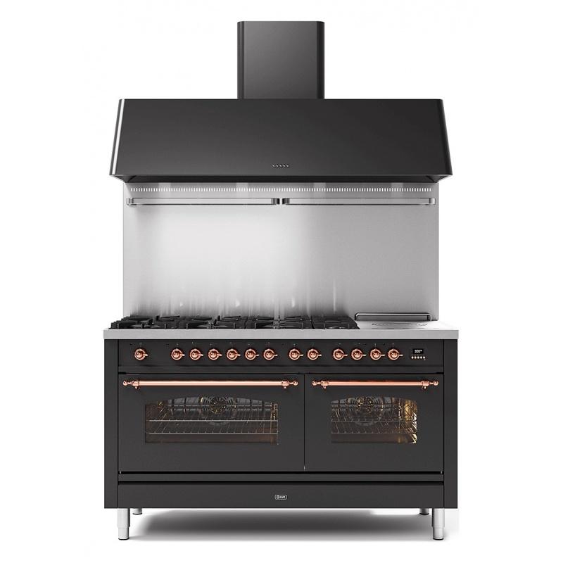 Set Aragaz ILVE Nostalgie P15N, 150x70cm, 7 arzatoare + placa Fry Top, cuptor dublu+Splash Back 150+Hota Ilve AG150, antracit