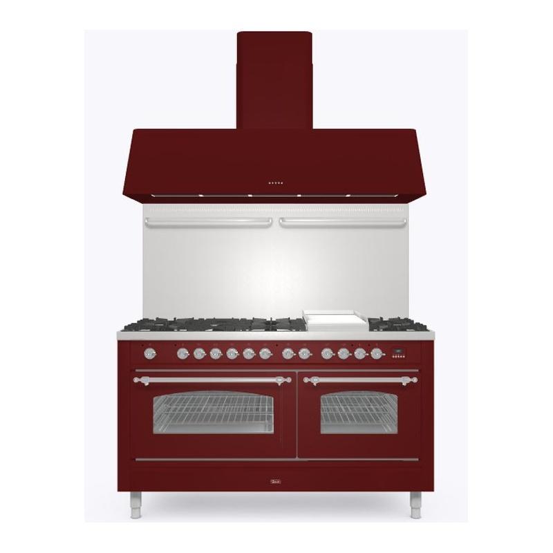 Set Aragaz ILVE Nostalgie P15N, 150x70cm, 7 arzatoare + placa Fry Top, cuptor dublu+Splash Back 150+Hota Ilve AG150, rosu