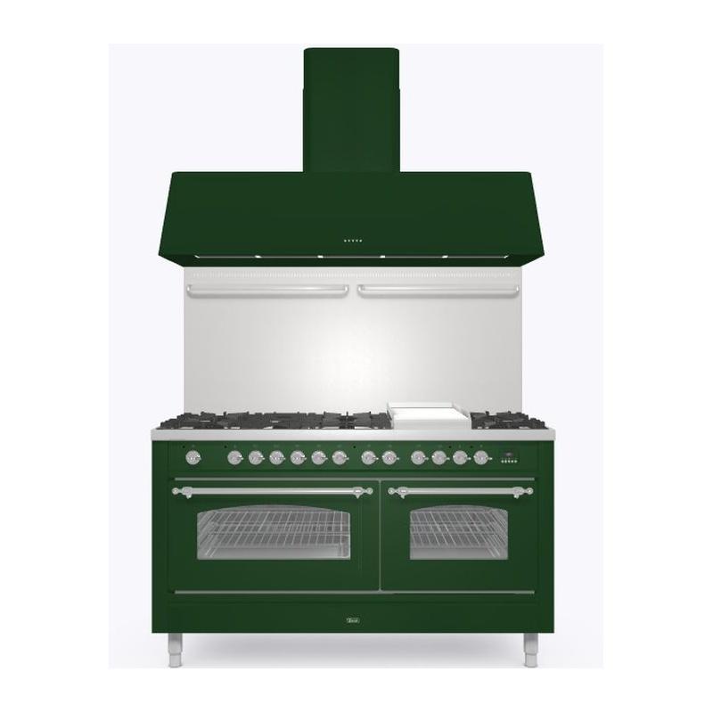 Set Aragaz ILVE Nostalgie P15N, 150x70cm, 7 arzatoare + Coupe de Feu, cuptor dublu+Splash Back 150+Hota Ilve AG150, verde
