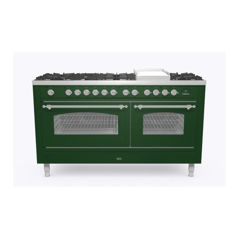 Aragaz ILVE Nostalgie P15N, 150x70cm, 7 arzatoare + Coupe de Feu, cuptor dublu, aprindere electronica, siguranta stop gaz, verde