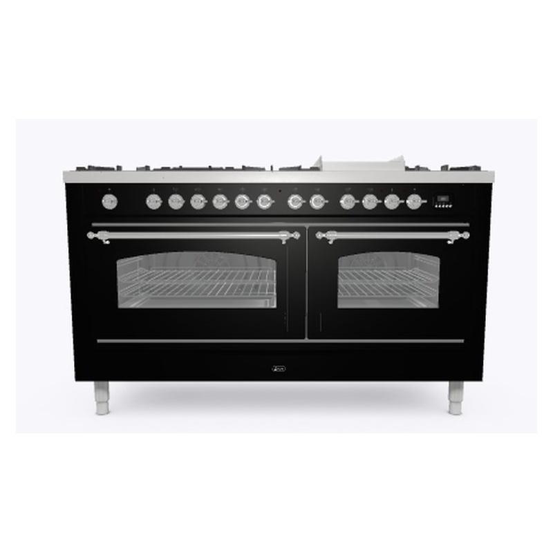 Aragaz ILVE Nostalgie P15N,150x70cm, 7 arzatoare + Fry Top, cuptor dublu,aprindere electronica, siguranta stop gaz, negru
