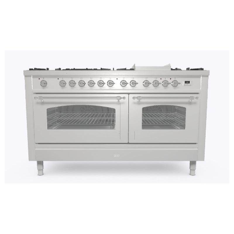 Aragaz ILVE Nostalgie P15N,150x70cm, 7 arzatoare + Fry Top, cuptor dublu,aprindere electronica, siguranta stop gaz, inox