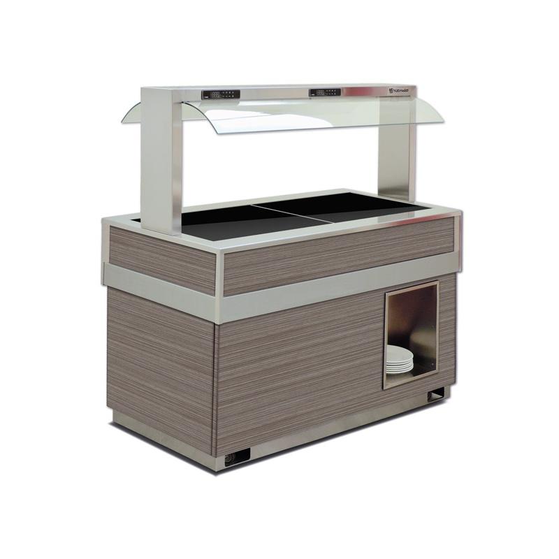 Vitrina frigorifica calda FUTURA 6 HOT, temperatura + 30 / + 90C, lemn pin