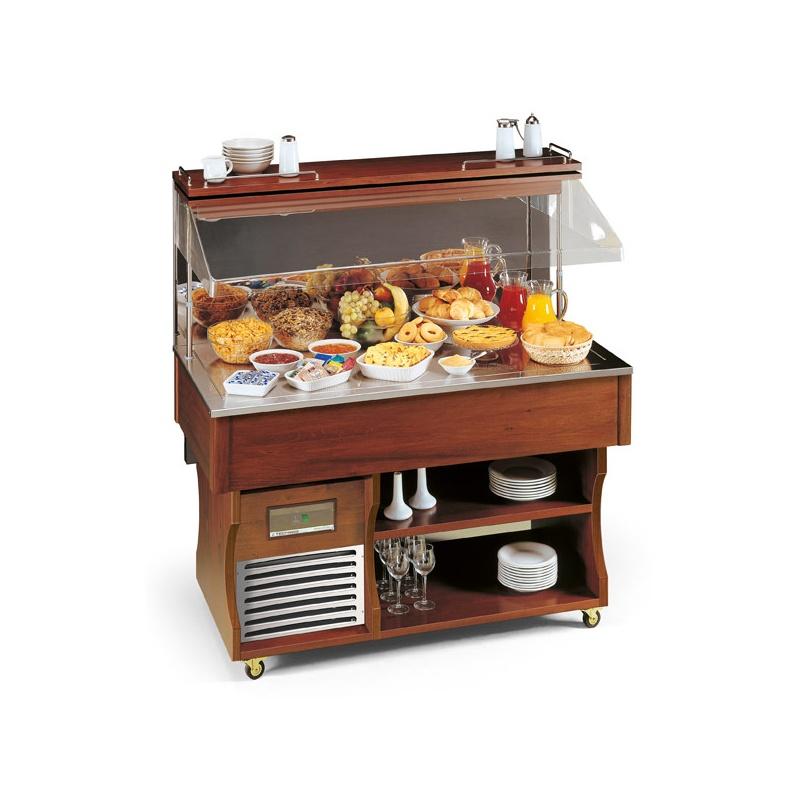 Vitrina frigorifica expunere produse Tecfrigo ISOLA MURALE 4 M NEUT, rafturi depozitare, temperatura Ambientala, maro