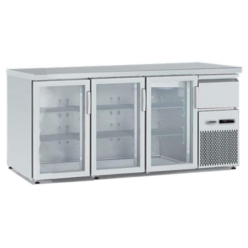Vitrina frigorifica orizontală Tecfrigo BBX 3V TOP Glass, cu blat de lucru, capacitate 540 l, temperatura +4/+8, argintiu