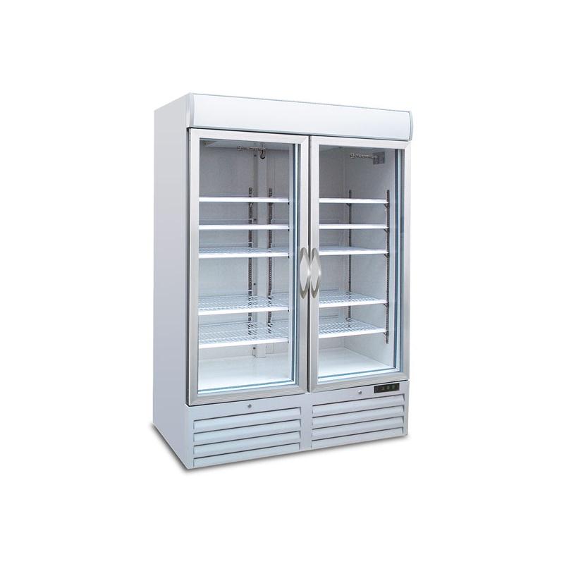 Vitrina frigorifica Tecfrigo POLO 900 GV SPOT, cu caseta luminoasa, 2 usi, capacitate 1078L, temperatura +2/+8°C, alb