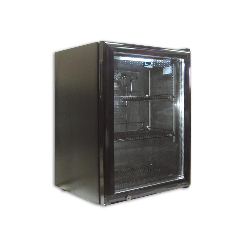Mini vitrina frigorifica Tecfrigo C 60 GLASS, cu lacat, capacitate 58 L, temperatura 0/+10º C, negru