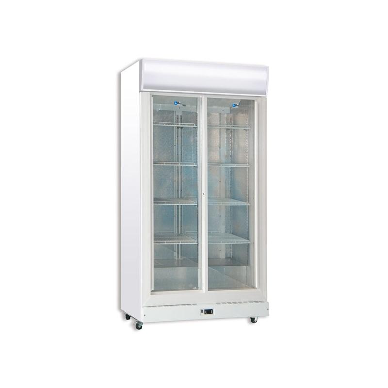 Vitrina frigorifica bauturi Tecfrigo C 900 GC SS, cu caseta luminoasa, capacitate 960 L, temperatura +3/+10º C, alb