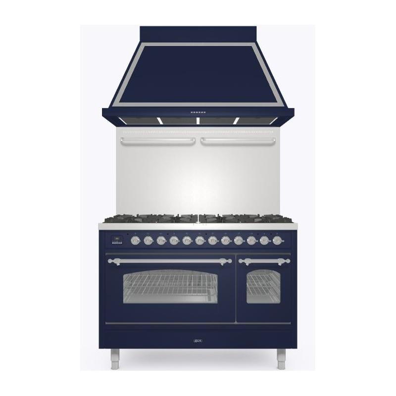 Set Aragaz ILVE Nostalgie P12N, 120x70cm, 8 arzatoare , cuptor dublu +Splash Back 120+Hota Ilve ABN120, albastru