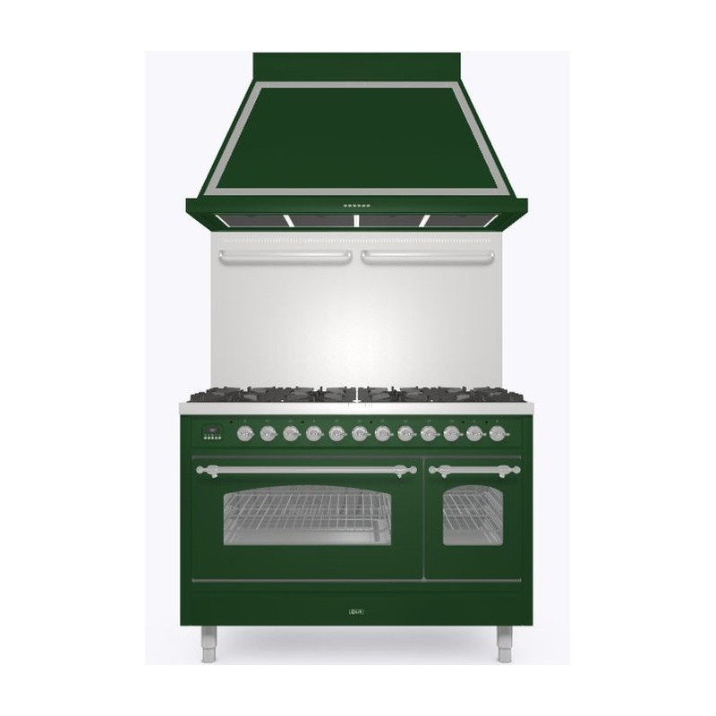 Set Aragaz ILVE Nostalgie P12N, 120x70cm, 8 arzatoare , cuptor dublu +Splash Back 120+Hota Ilve ABN120, verde