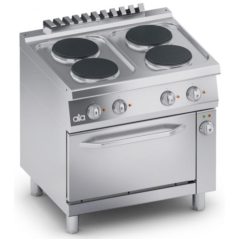 Masina de gatit electric , Ata Italia C2ECU10FF , seria 700 cu 4 plite si cuptor electric ventilat